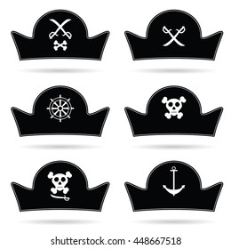 pirate hat set in black color illustration
