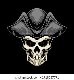 pirate hat skull vector illustration