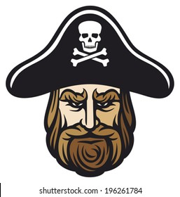pirate head with hat