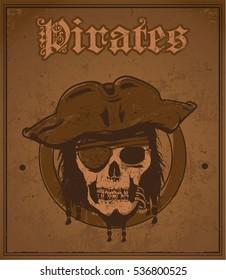Pirate head skull postcard/ Editable Eps10.