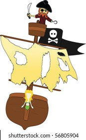 A Pirate in his Crows Nest over White