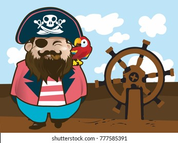 Pirate with his parrot on the ship