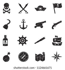 Pirate Icons. Black Scribble Design. Vector Illustration.