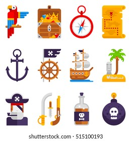 Pirate icons set isolated on white background. Pirates vector flat icons, parrot, treasure chest, compass, treasure map, anchor, steering wheel, pirate flag, ship, island, pirate hat, rum, bomb, gun