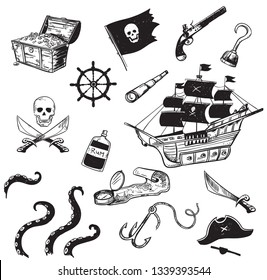 Pirate icons set, vector illustration