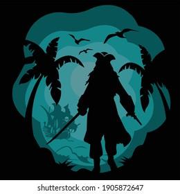 pirate illustration - shadow art