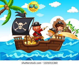 Pirate and Kids on the Boat illustration