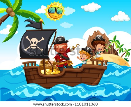 Pirate and Kids on