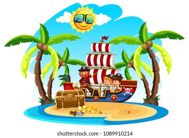 A Pirate with Kids on Island illustration