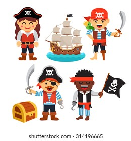Pirate kids rascals, girls and boys, in hats and bandanas with treasure chest, black flag and ship. Flat style vector cartoon illustration isolated on white background.