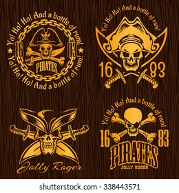 Pirate labels set - vector design for badges, logos and t-shirt prints.