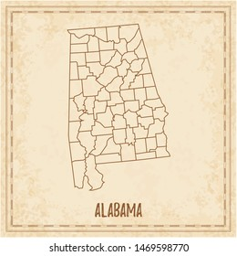 Pirate map of Alabama. Blank vector map of the Us State with counties. Vector illustration.