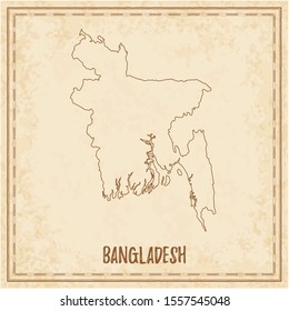 Pirate map of Bangladesh. Blank vector map of the Country. Vector illustration.