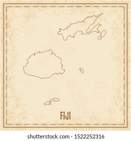 Pirate map of Fiji. Blank vector map of the Country. Vector illustration.