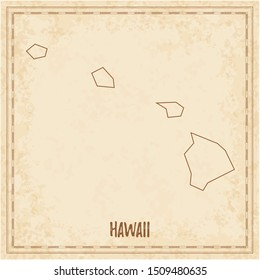 Pirate map of Hawaii. Blank vector map of the Us State. Vector illustration.