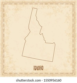 Pirate map of Idaho. Blank vector map of the Us State. Vector illustration.