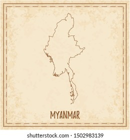 Pirate map of Myanmar. Blank vector map of the Country. Vector illustration.