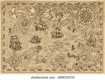 Pirate Map with old sailing ships, fantasy creatures, treasure islands. Pirate adventures, treasure hunt and old transportation concept. Hand drawn vector illustration, vintage background