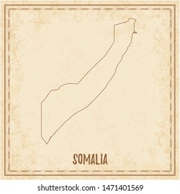 Pirate map of Somalia. Blank vector map of the Country. Vector illustration.