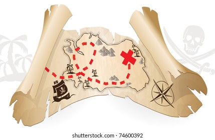 Pirate map, way to treasure