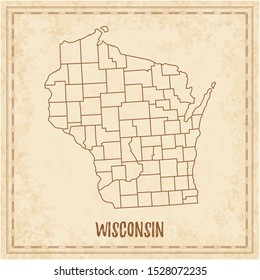 Pirate map of Wisconsin. Blank vector map of the Us State with counties. Vector illustration.