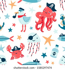 Pirate marine animals flat vector seamless pattern. Childish cute backdrop. Underwater world inhabitants. Seagull, jellyfish and octopus cartoon texture. Fish, crab and anchor on white background.