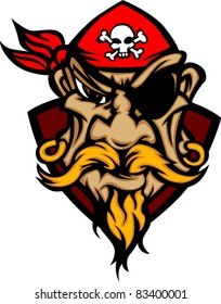 Pirate Mascot with Bandana Cartoon Logo
