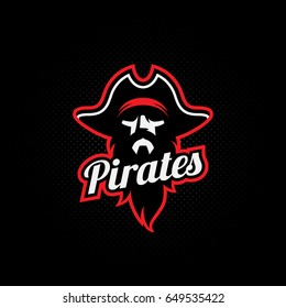 Pirate mascot for a sport team on a dark background. Vector illustration.