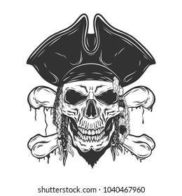 Pirate monochrome skull isolated on white background.Dreadlocks and hat.Vector illustration.