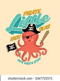 Pirate octopus. Cartton Octopus. Cute illustration octopus Pirate.