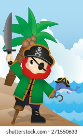 pirate on the beach Vector for your design