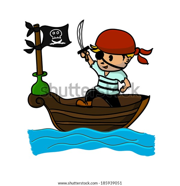 Pirate on boat in the sea