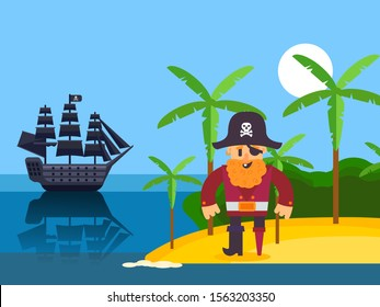Pirate on tropical island, vector illustration. Funny cartoon character pirate captain with red beard. Corsair on beach with palm, black sail ship in sea. Simple piracy illustration for children story
