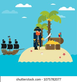 Pirate and open treasure chest and pirates stuff on a desert island flat design