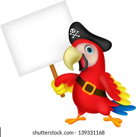 Pirate parrot cartoon with blank sign
