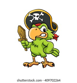 Pirate Parrot Cartoon Illustration