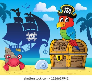 Pirate parrot on treasure chest topic 3 - eps10 vector illustration.