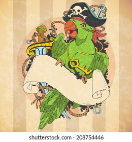 pirate parrot tattoo style
