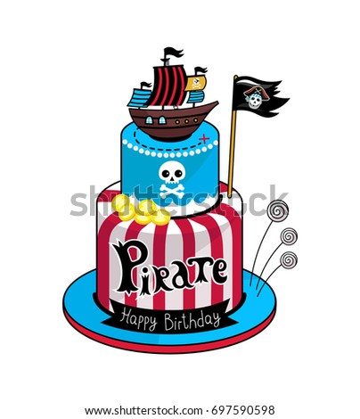 Pirate Party Cake Icon Children Drawing Of Concept Vector Illustration Isolated On White Background