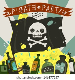Pirate party card. The vector greeting card of halloween pirate party with pirate flag, rome and treasure.