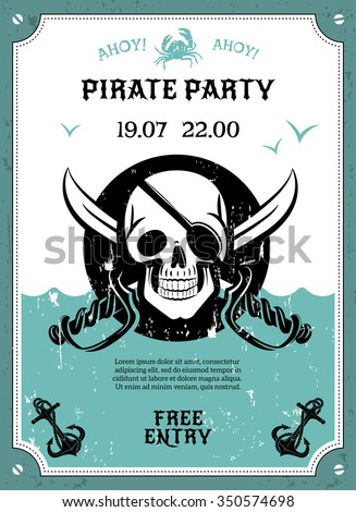 pirate party free entry announcement poster のベクター画像素材