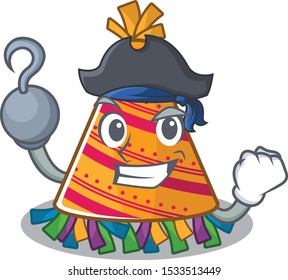 Pirate party hat character isolated in cartoon