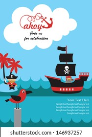 pirate party invitation card design. vector illustration