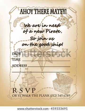 Pirate Party Invitation Card Design Map For Birthday Template Ship