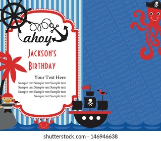 Chalk Effect Pirate Bunting Childrens Birthday Party Invitations
