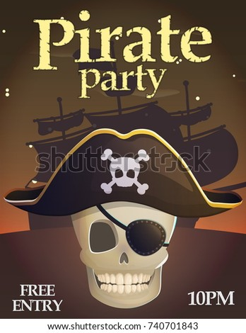 pirate party invitation celebration card template stock vector