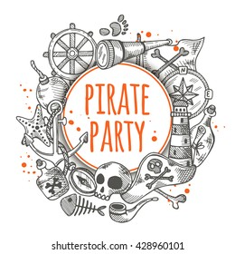 Pirate party. Round circle composition with pirate elements. Hand drawn vector illustration. Anchor, spyglass, lighthouse, roger, treasure, ahoy, bone, money, rum, bottle, palm, cannonball and other.