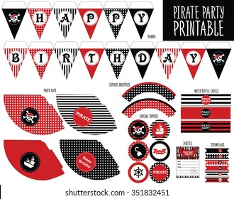 Pirate Party Set Printable Decoration. Print and cut. Candybar, hats, cupcake wrapper, topper, flags, banner, bottle labels, strawflags.