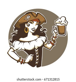Pirate Party, vector portrait of beautiful lady in corsair costume and hat hold a draft beer
