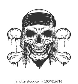 Pirate retro skull isolated on white background.Vector illustration.